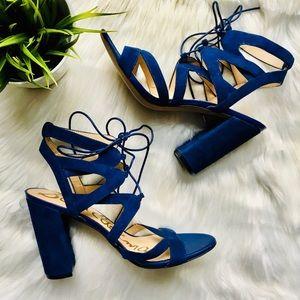 SAM EDELMAN Yardley Blue Lace Up Heel Sandals 9